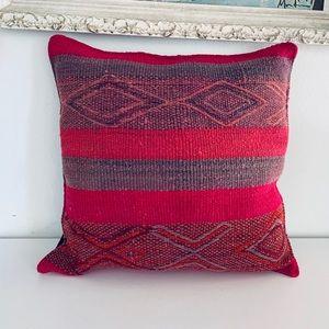 Peruvian Wool Throw Pillow Turkish Kilim UNUSED